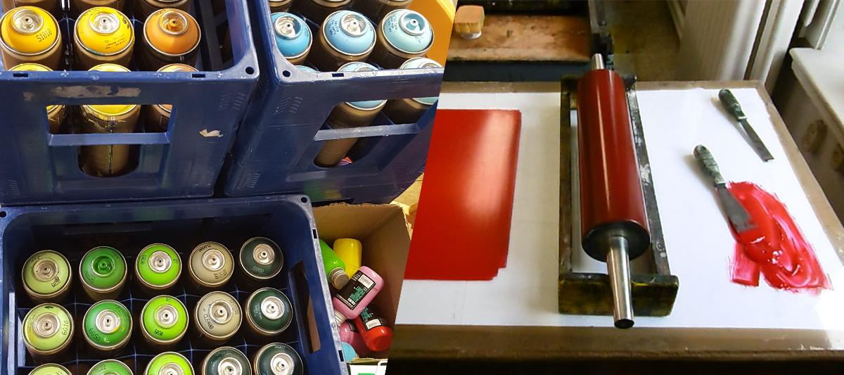sprayburkar och schanloner för graffiti målning